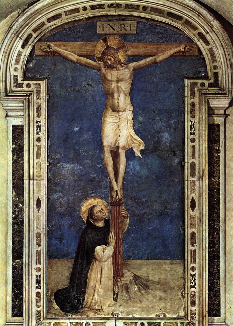 Saint Dominic Adoring the Crucifixion - Fra Angelico, 1441-1442